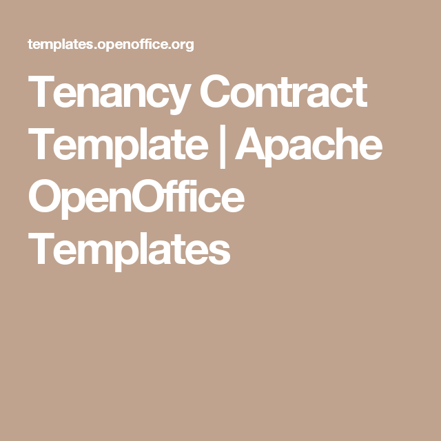 Tenancy Contract Template  Apache Openoffice Templates  Contract