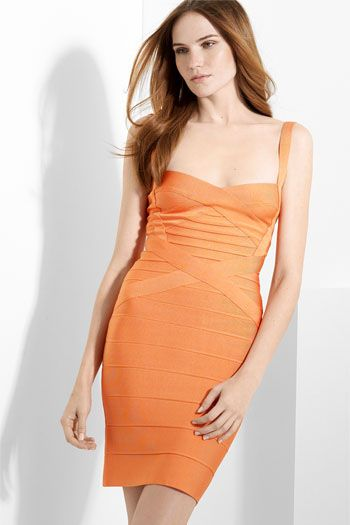 8279688af5be Herve Leger Crisscross Bandage Orange Dress | Colours - Orange ...