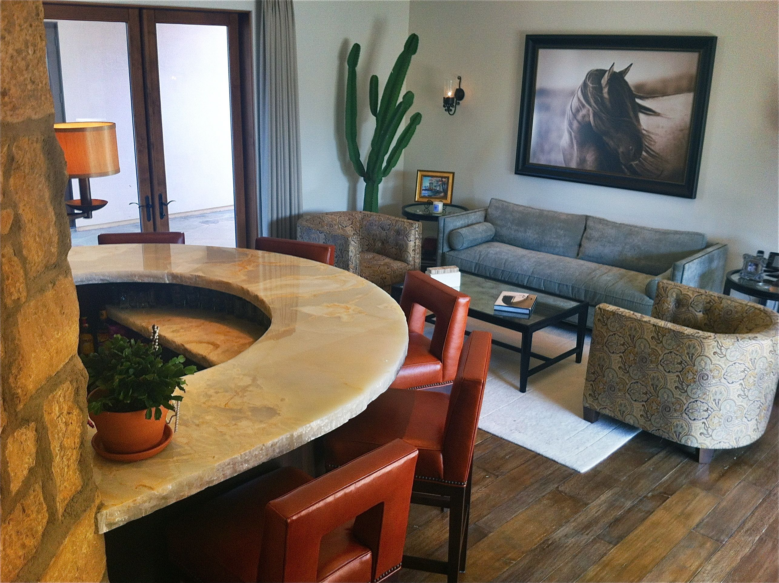 Rustic Bar Design With Onyx Stone Top And Tony Stromberg