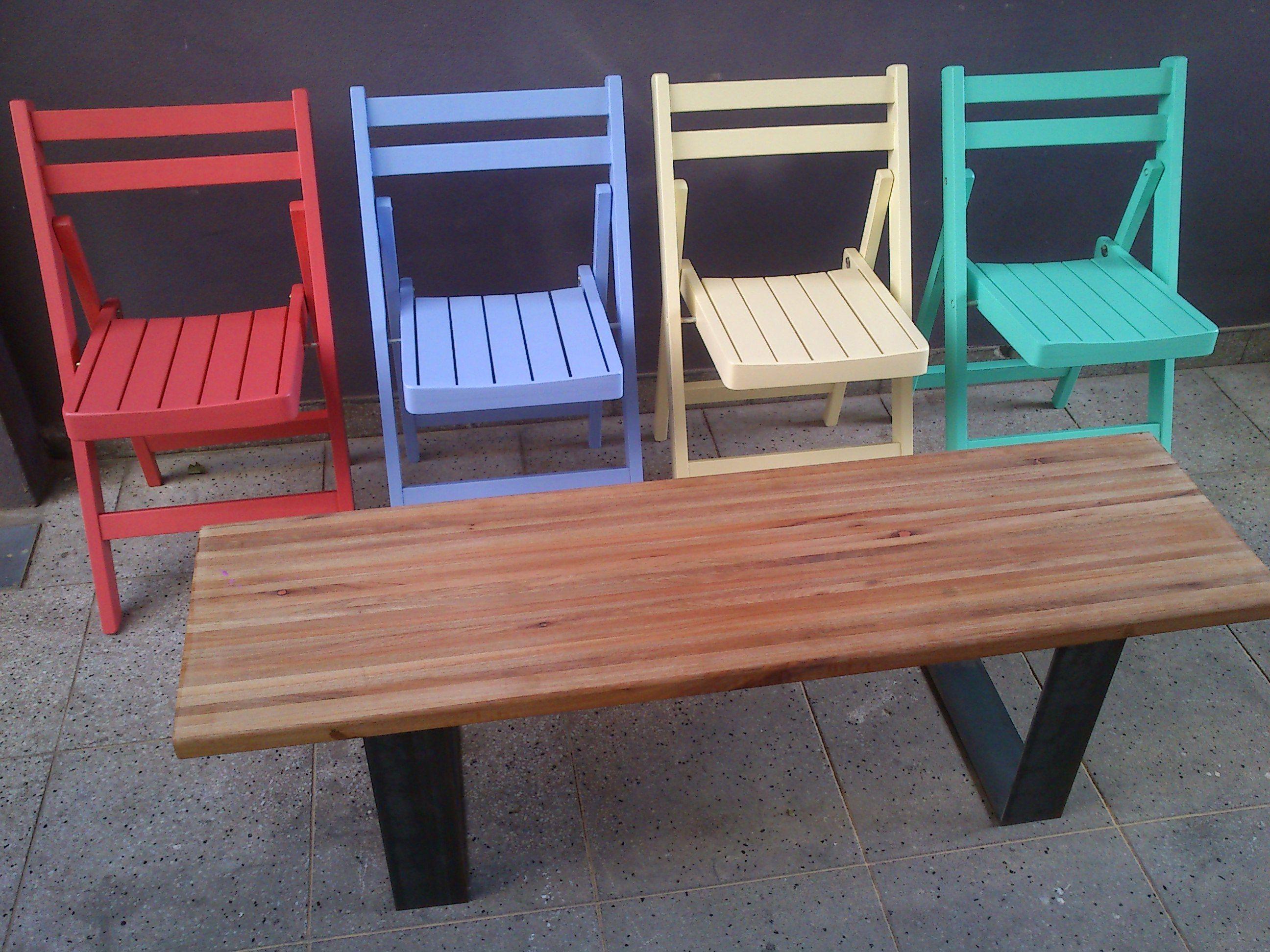 Mesa ratona de hierro y madera de eucalipto compensado de 1 45 x 0 40 m sillas plegables - Pintar sillas de madera ...