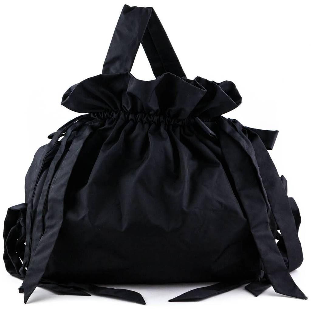 Simone Rocha Black Nylon Oversized Bow Drawstring Bag Luxury