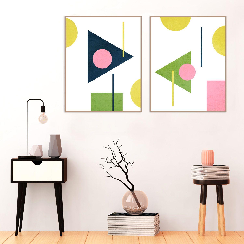 Minimalist Mid Century Modern Art Pink Yellow Green and