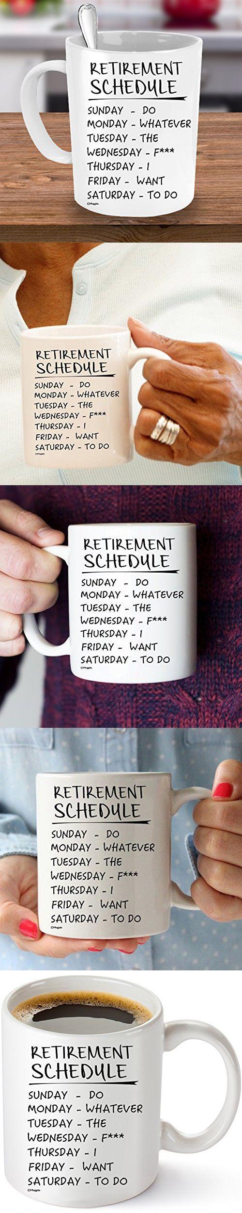 Muggies Retirement Schedule Funny Coffee Tea 11oz. Mug. Unique Cup ...