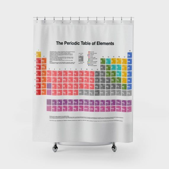 Periodic Table Of Elements Shower Curtain Geeky Nerdy Chemistry