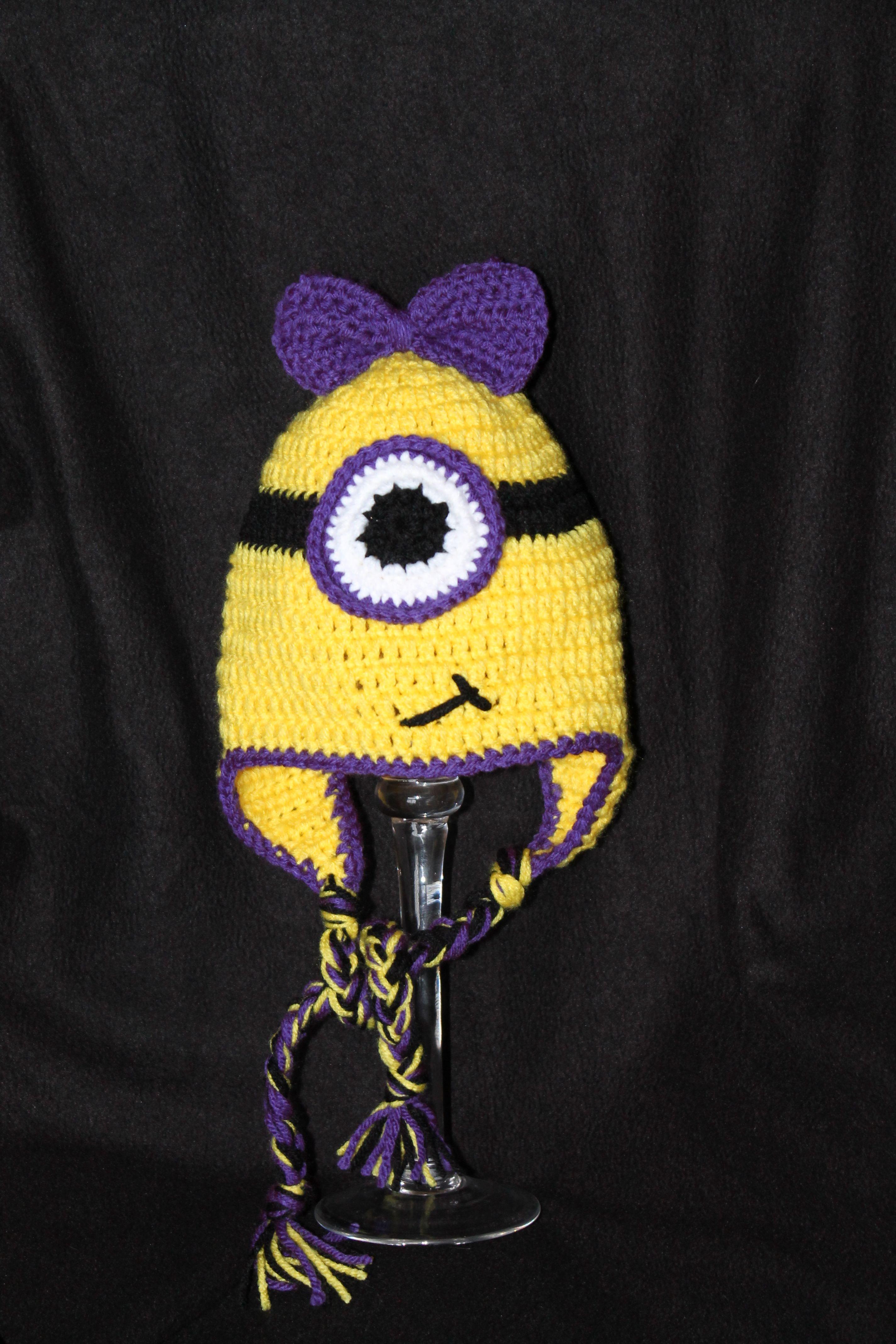 Purple one eyed minion - girl crochet hat https://www.facebook.com ...