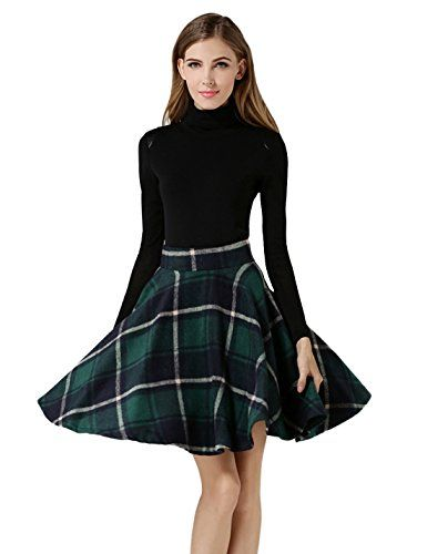 b499d4874 Tanming Women's High Waisted Wool Check Print Plaid Aline Skirt (Large,  Green NOTE:All sizes are US size. [ X-Small ]The skirt inches) [ Small ]The  skirt ...
