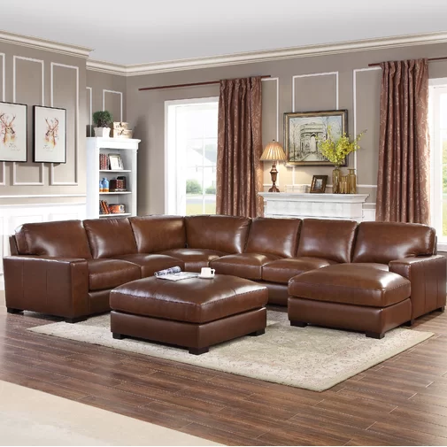 Darby Home Co Gartner Leather Symmetrical Modular Sectional With
