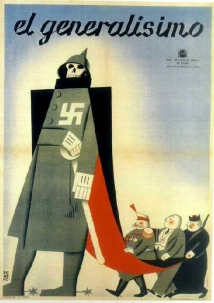 El generalisimo - Affiche de la guerre d'Espagne signée Pedrero. Junta Delegada…