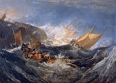 Title: The Wreck of a Transport Ship, c.1810  Artist: Joseph Mallord William Turner  Location: Museu Calouste Gulbenkian Lisbon Portugal