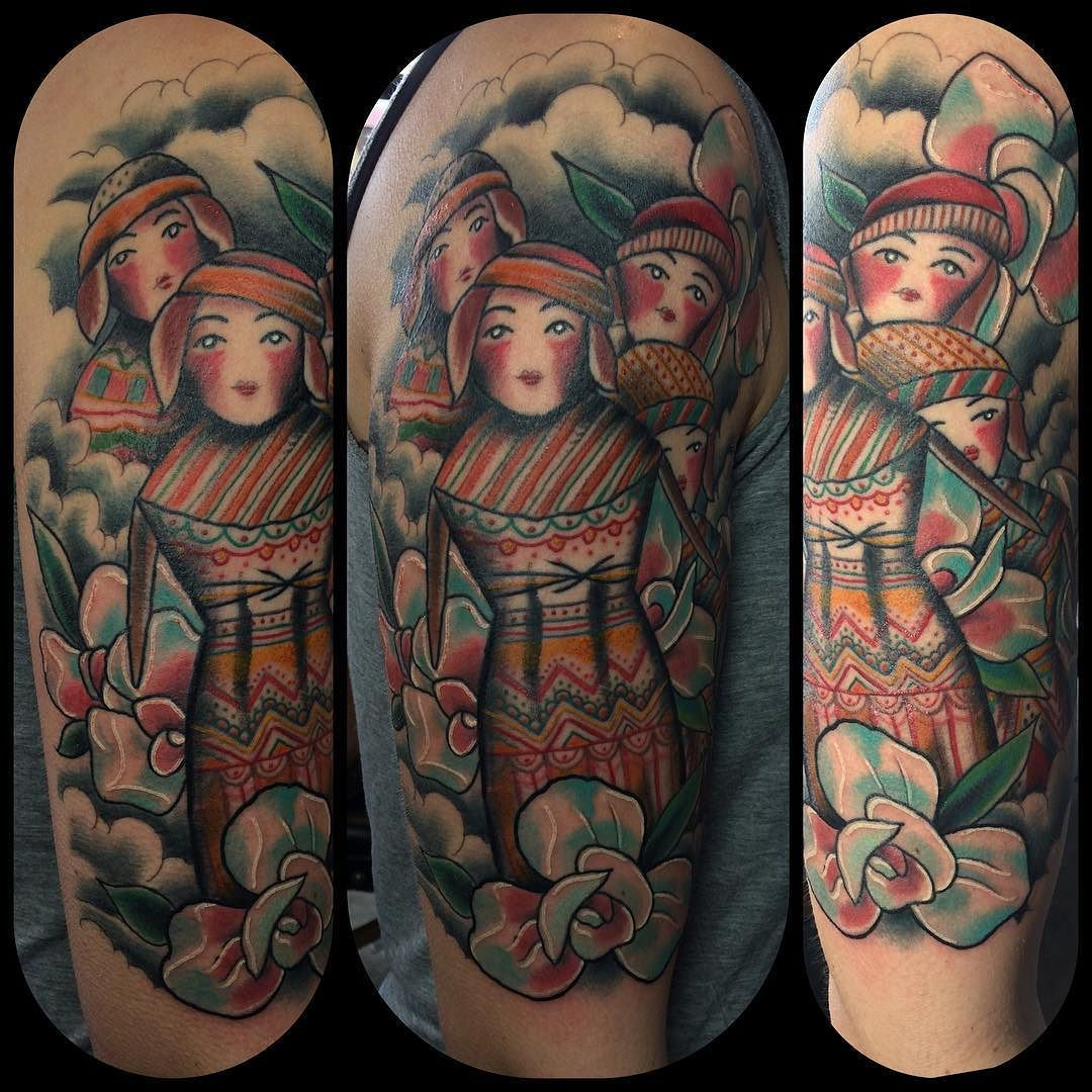 Guatemalan worry dolls tattoo by scott updike charmed