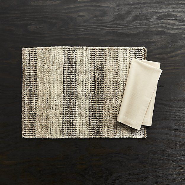 Ciara Wool Placemat And Fete Brindle Brown Cloth Napkin Crate
