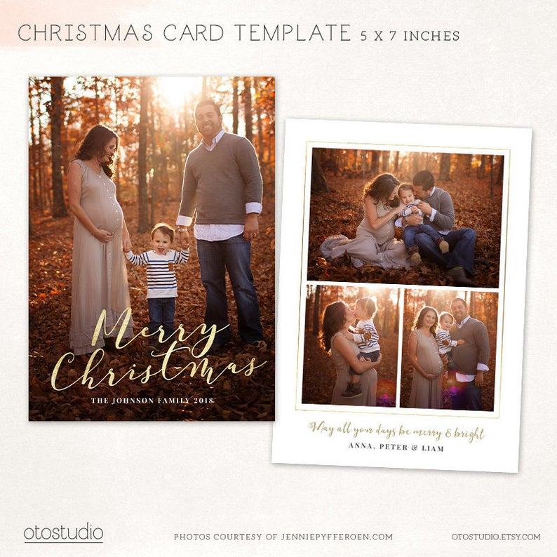 Carte de Noël modèle joyeux Noël Photo carte Photoshop | Etsy
