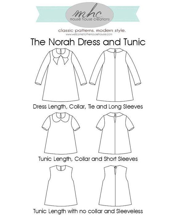 The Norah Dress and Tunic PDF Sewing Pattern: Sizes 12 months to 12 ...