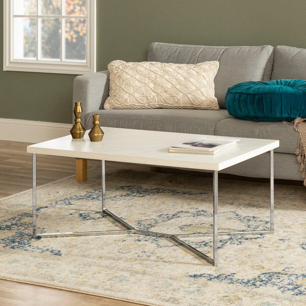 Mid Century Modern Coffee Table White Faux Marble Chrome Rc Willey Furniture Store Einrichten Und Wohnen Couchtische Wohnen [ 1000 x 1000 Pixel ]