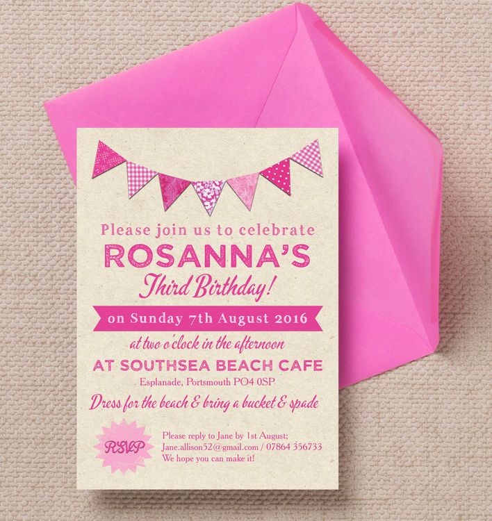 Vintage Pink Bunting Party Invitation | Pink bunting, Vintage pink ...