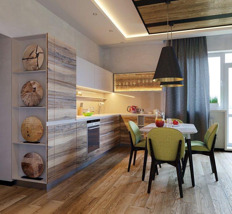 Cucina Con Set Tavolo Da Pranzo Mobili Di Legno Colore Sfumato In Abbinamento Al Grigio Progetti Di Cucine Cucina A Forma Di L Idee Di Design