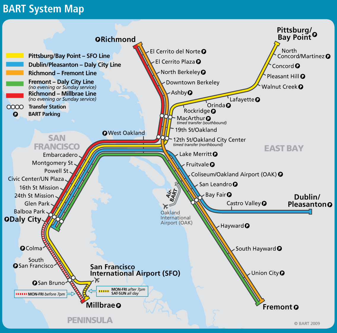 San Francisco Bay Area Metro Map BART Great Way To Get From - Map san francisco bus routes