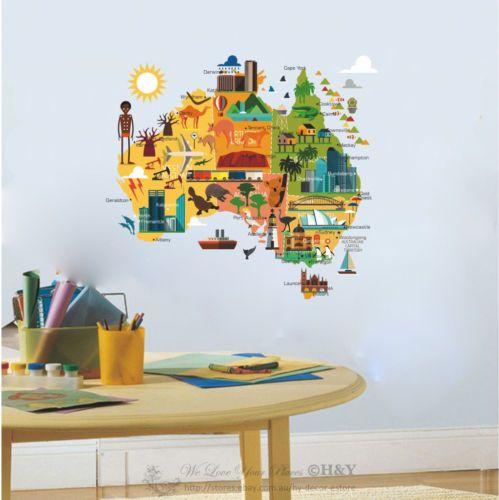 details about australia map wall sticker art nursery decal kids room