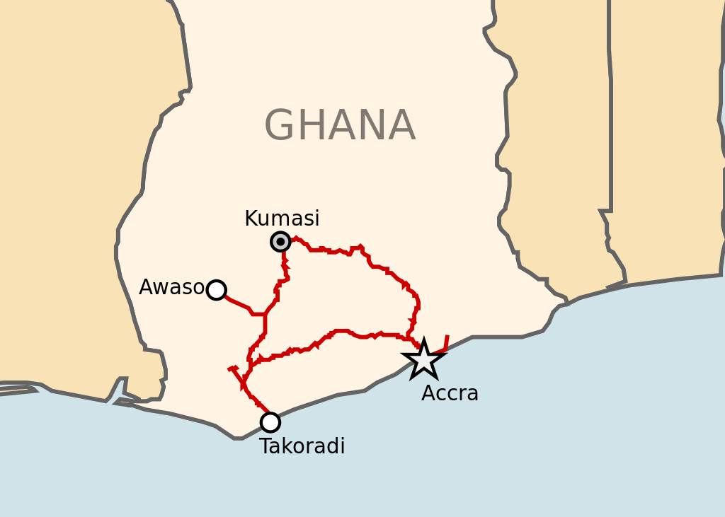 Ghana Railways: Ghana, officially called the Republic of Ghana, is a sovereign unitary presidential constitutional democracy, located along the Gulf of Guinea and Atlantic Ocean, in the subregion of West Africa. There are no rail links with adjoining countries.