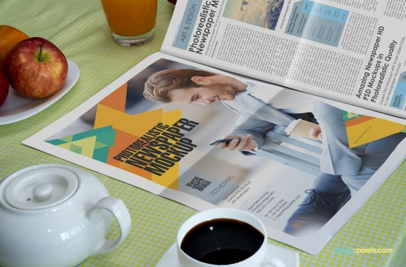 Newspaper Mockups For Full Page Newspaper Ad Showcase On Breakfast