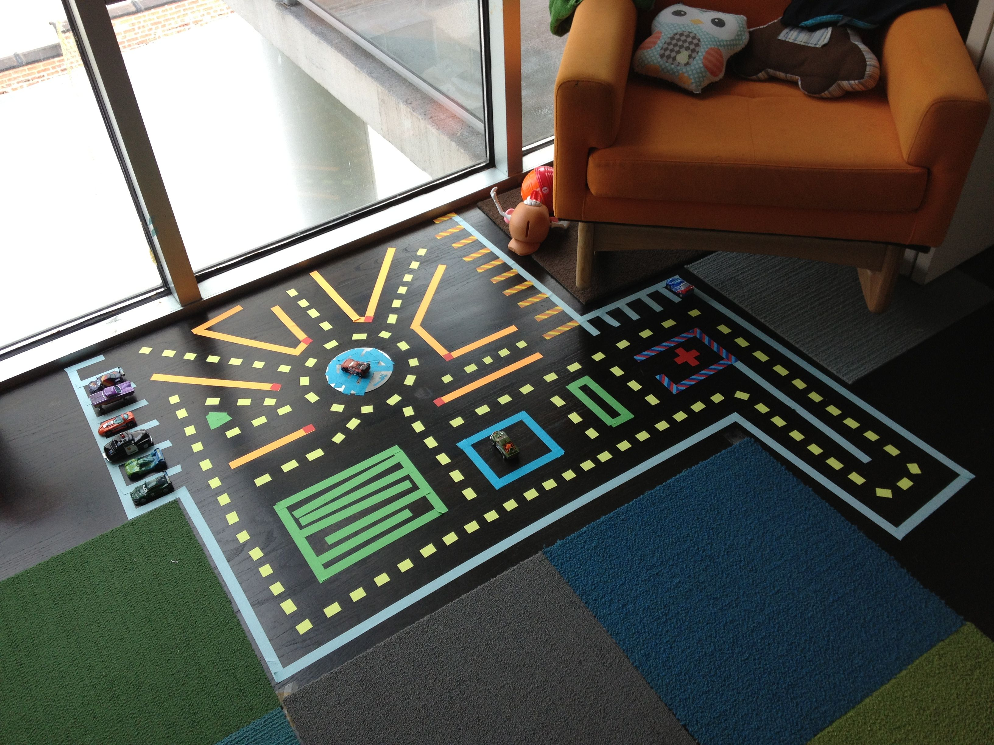 Dyi Color Tape Race Track My Afternoon Project Activities For Kids Activities Kids Rugs