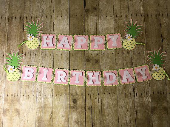 happy birthday banner pineapple birthday banner baby shower banner