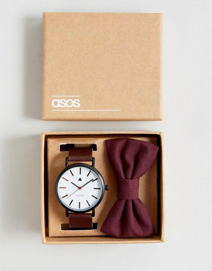 Groomsmen Gift Idea Asos Wedding Watch And Bow Tie Set In Burgundy