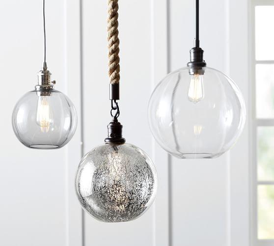 Pottery Barn Ceiling Light Fixtures: PB Classic Cord Pendant - Glass Globe