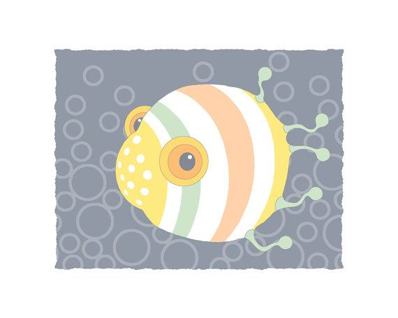 8x10 Sea animal illustration, fish print, childrens art print, baby ...