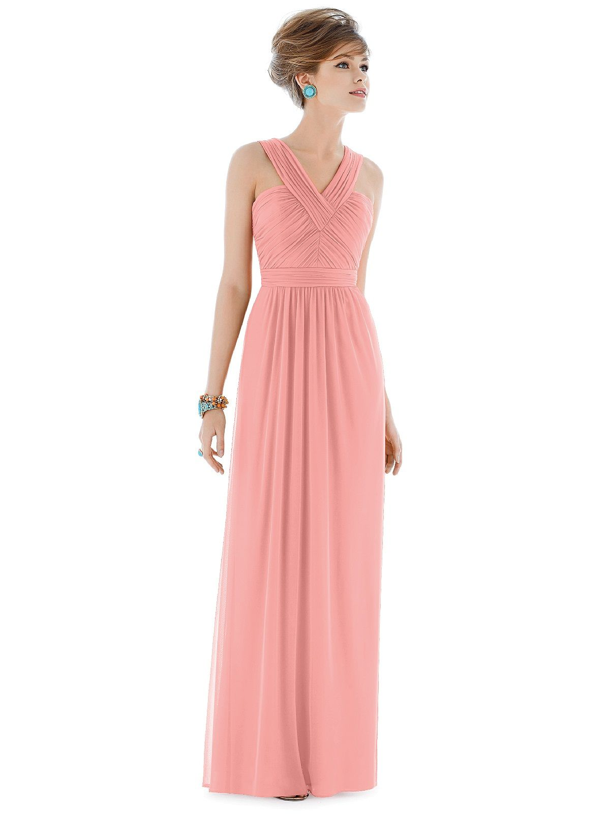 Alfred sung d678 bridesmaid dress in coral in chiffon shop alfred sung final sale sample sale in chiffon knit at weddington way find the perfect made to order bridesmaid dresses for your bridal party in your ombrellifo Gallery
