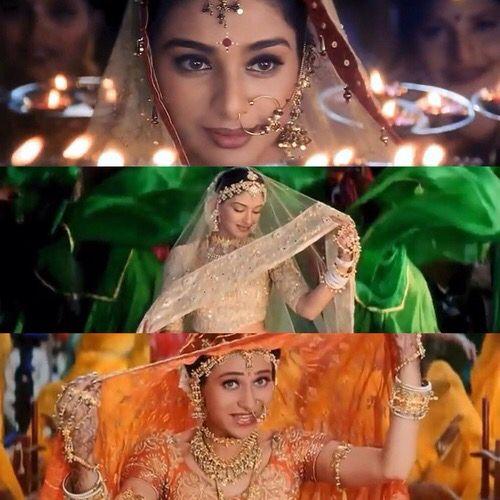Karisma Kapoor Tabu And Sonali Bendre In Hum Saath Saath Hain Indian Actresses Bollywood Heroine Pakistani Bridal