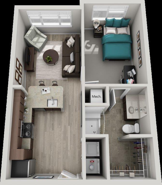 The Jackson 1 Bedroom 561 Sq Ft Design De Apartamento Pequeno Layout De Apartamento Casas Pequenas E Simples