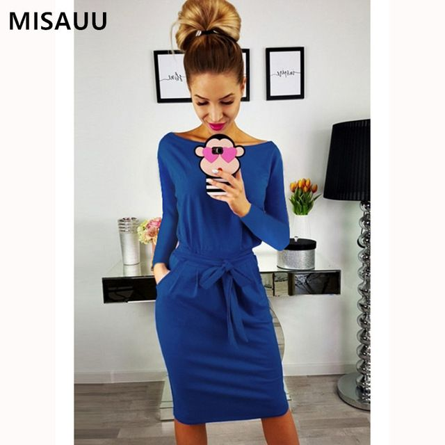 MISAUU Women Autumn Winter Bandage Dress Women 2018 Sexy O-Neck Long Sleeve  Slim Bodycon Casual Party Dresses Vestidos Plus Size ac1ad202cdca