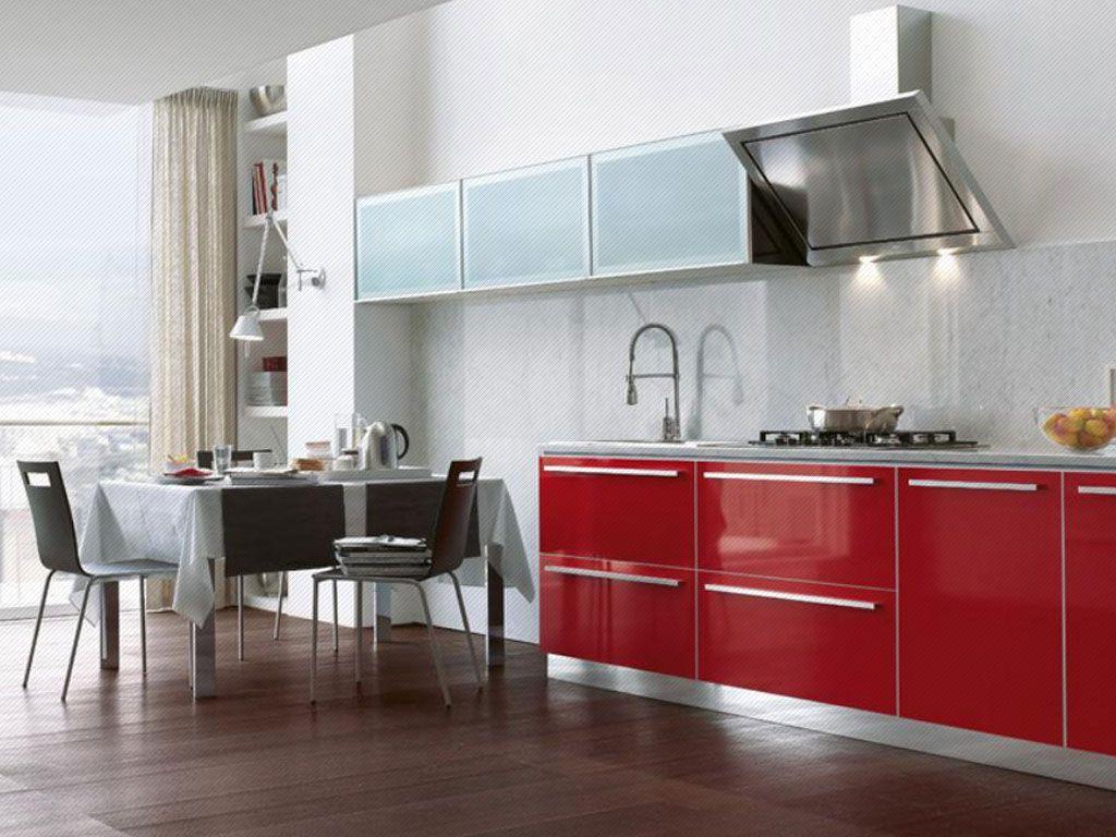 Mueble alto con puertas en vidrio sandblasteado con marco for Cocinas integrales en aluminio