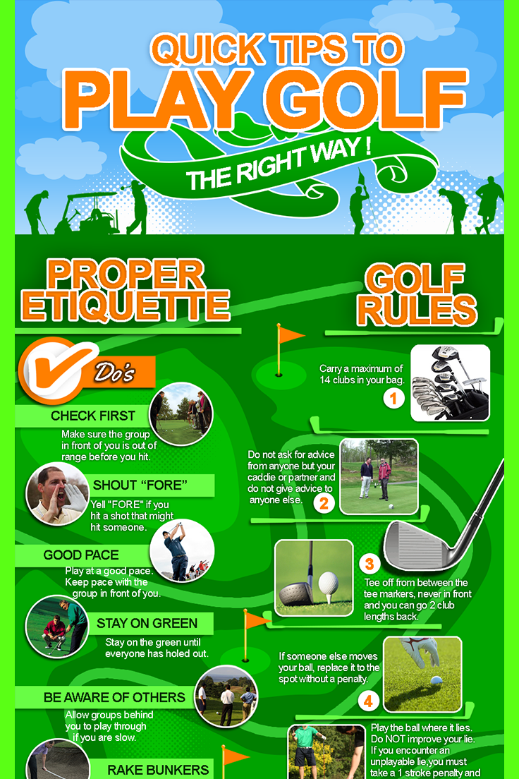Play Golf The Right Way Infographics Weekly Golf Etiquette Golf Basics Play Golf