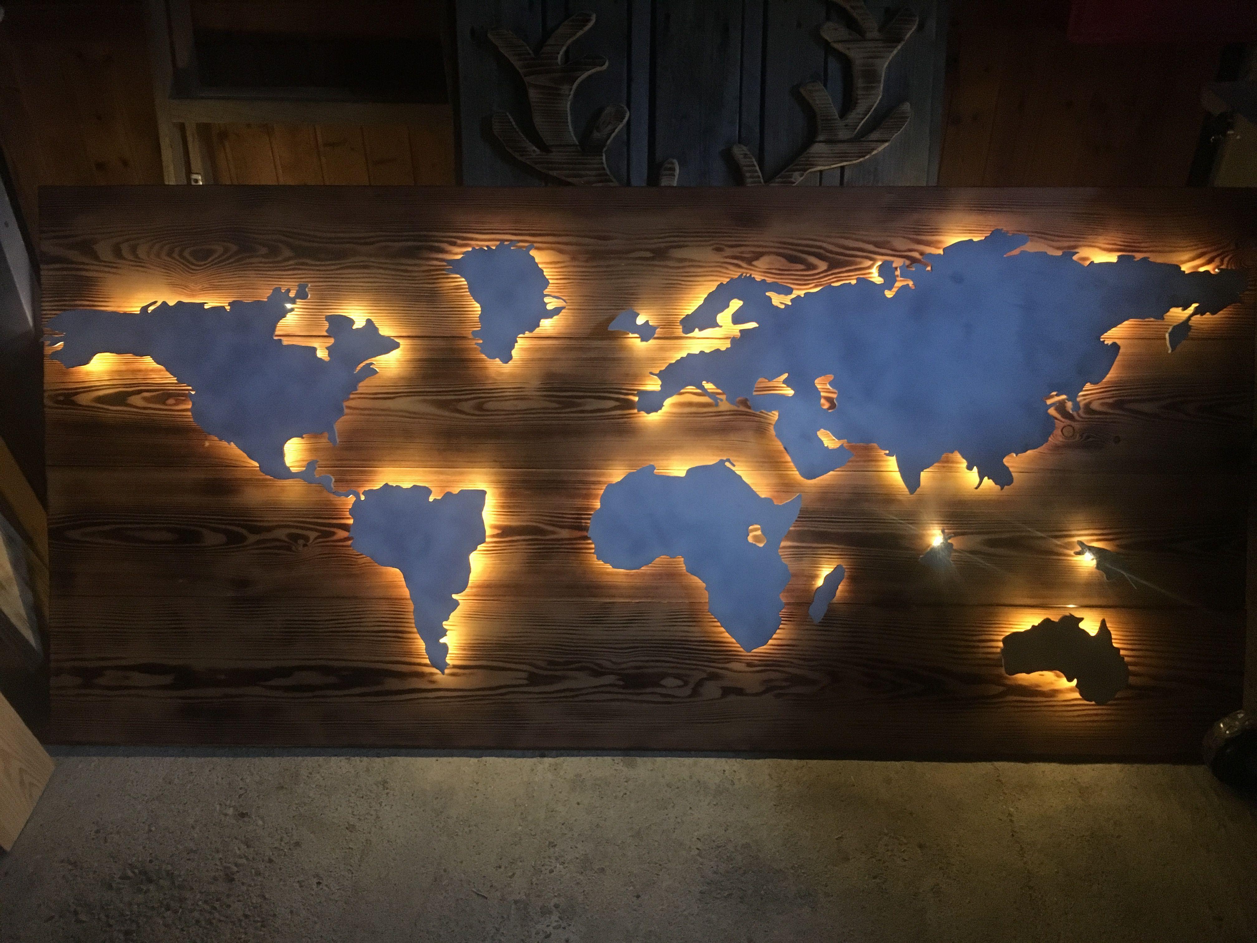 Welkarte Aus Holz Mit Magnethalterung Und Led Beleuchtung Led Beleuchtung Beleuchtung Led