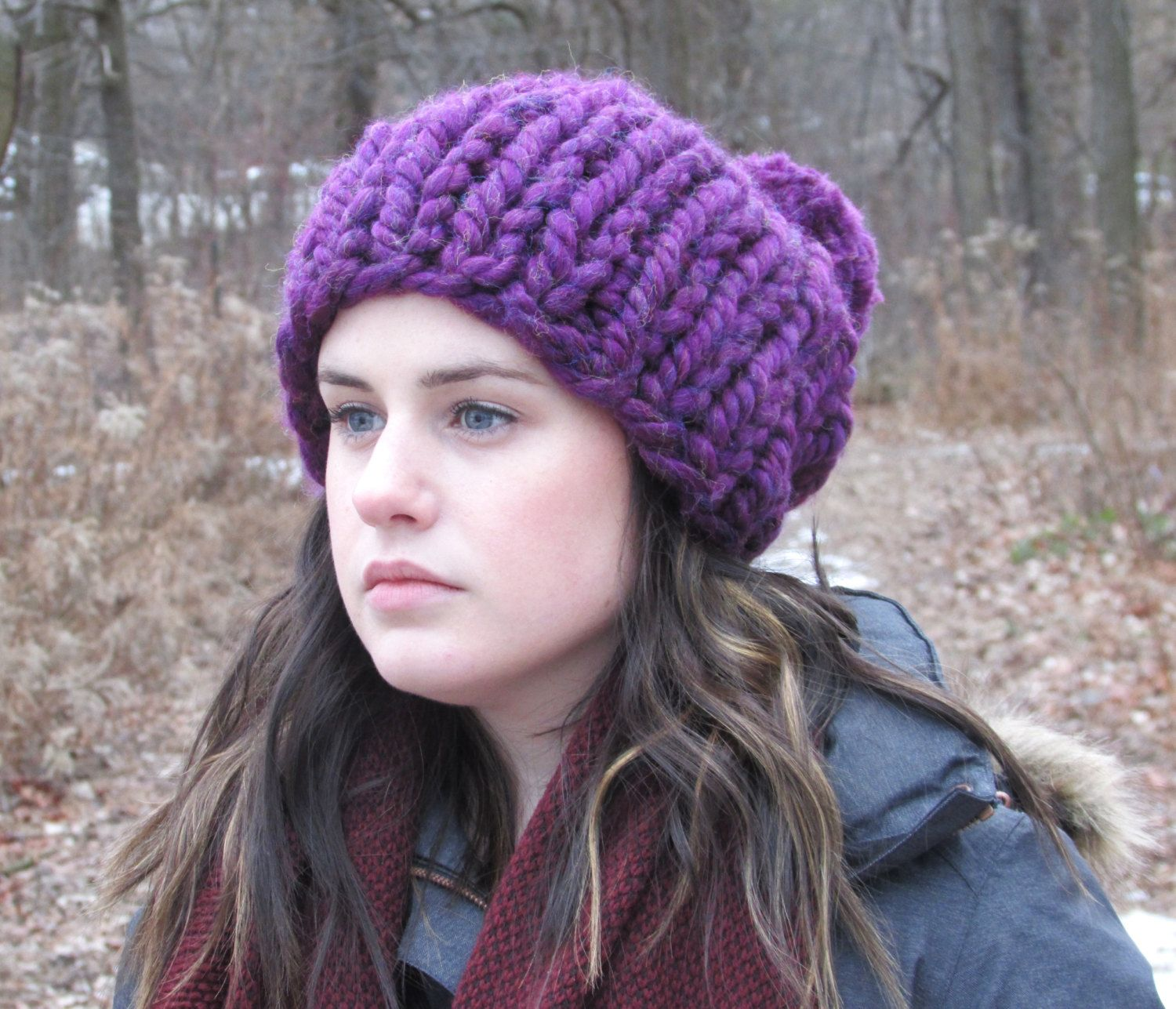 Chunky Knit Hat x Slouch Hat x Thick Knit Beanie x Oversize Winter Hat x  Chunky Pom Pom Hat x Gift for Her x Purple Hat by WoolshedKnits on Etsy 15db16feeeb