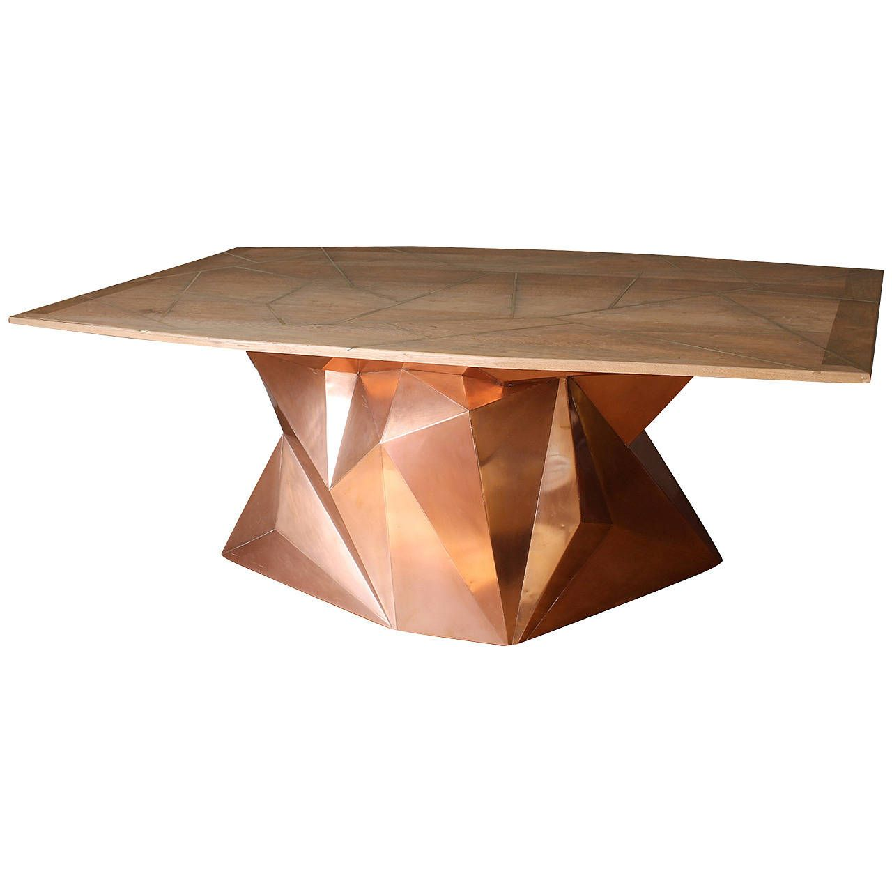 Faceted Copper And Reclaimed Wood Nomada Dining Table By Alberto Vieyra 1stdibs Com Dining Table Antique Table Modern Dining Room Tables [ 1280 x 1280 Pixel ]