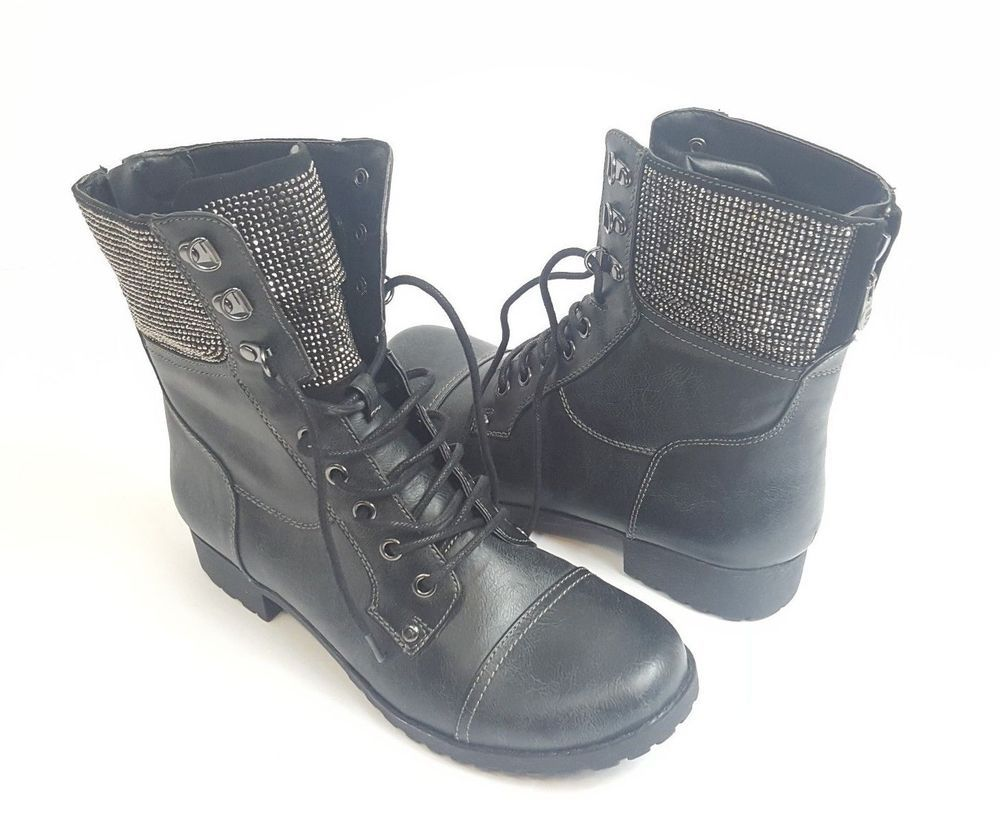 NEW G by Guess Distressed Black Combat Boots Rhinestones Womens Size 8 1 2  Bling  GbyGuess  guess  CombatBoots  distressed  distressedblack  rhinestone  ... 34c4e02e5088