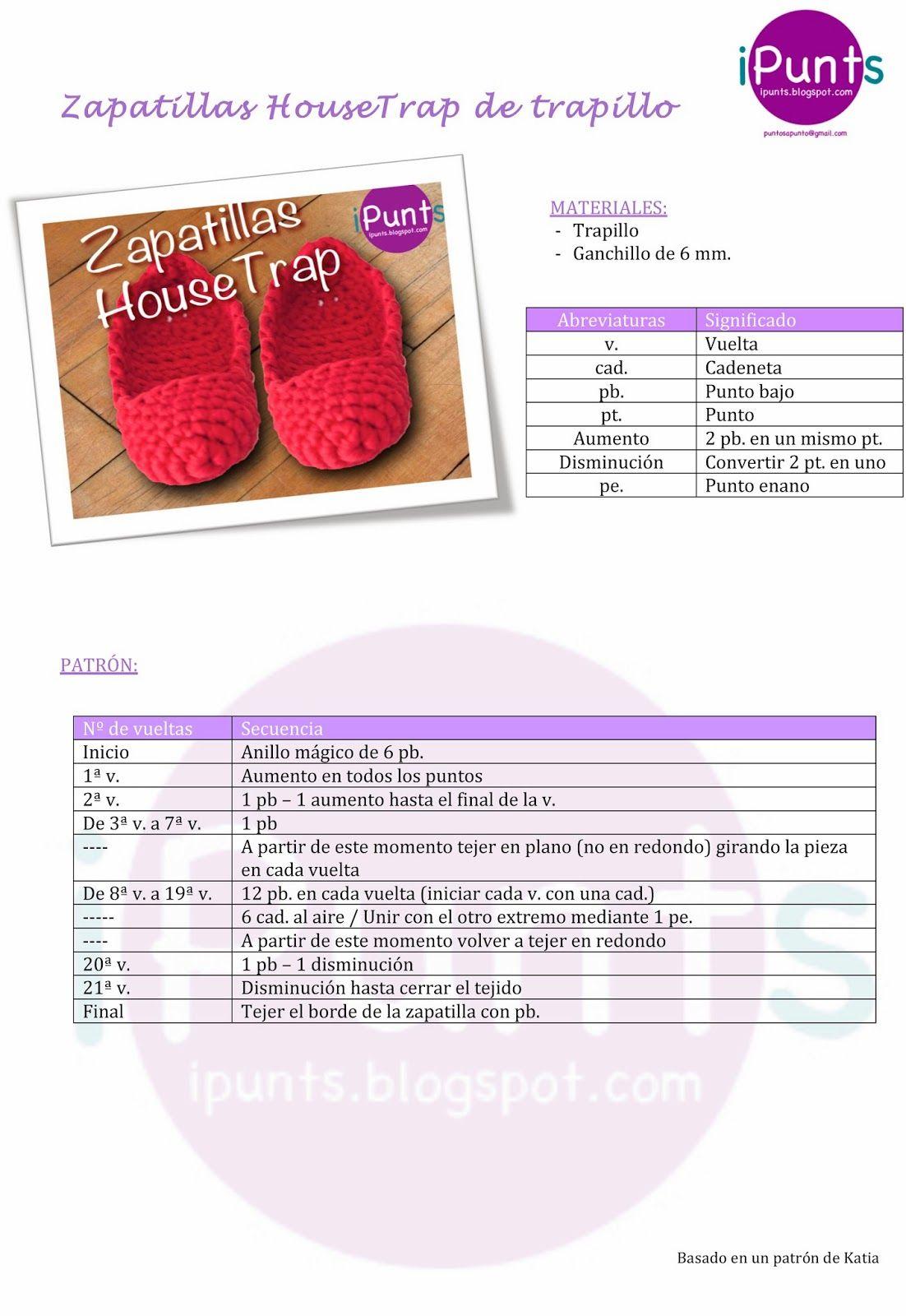 iPunts: Zapatillas HouseTrap de trapillo | tutoriales | Pinterest ...