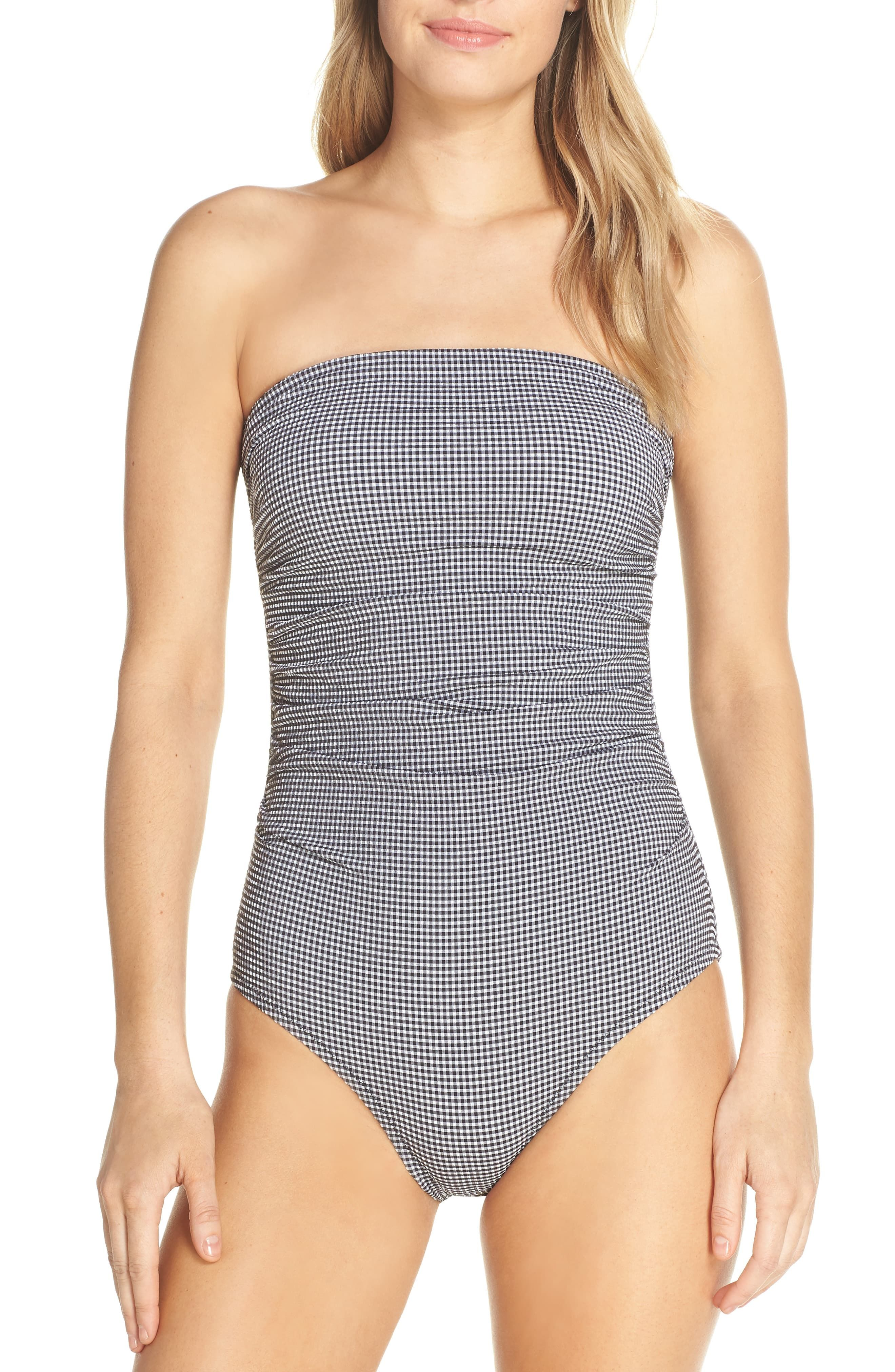 02944f5f9b499 Women's J.crew Gingham Ruched Bandeau One-Piece Swimsuit, Size 10 - Black