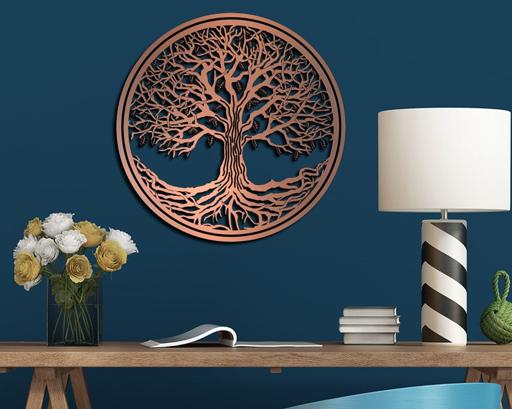 Tree Of Life Hanging Metallic Laser Cut And Engraved Wall