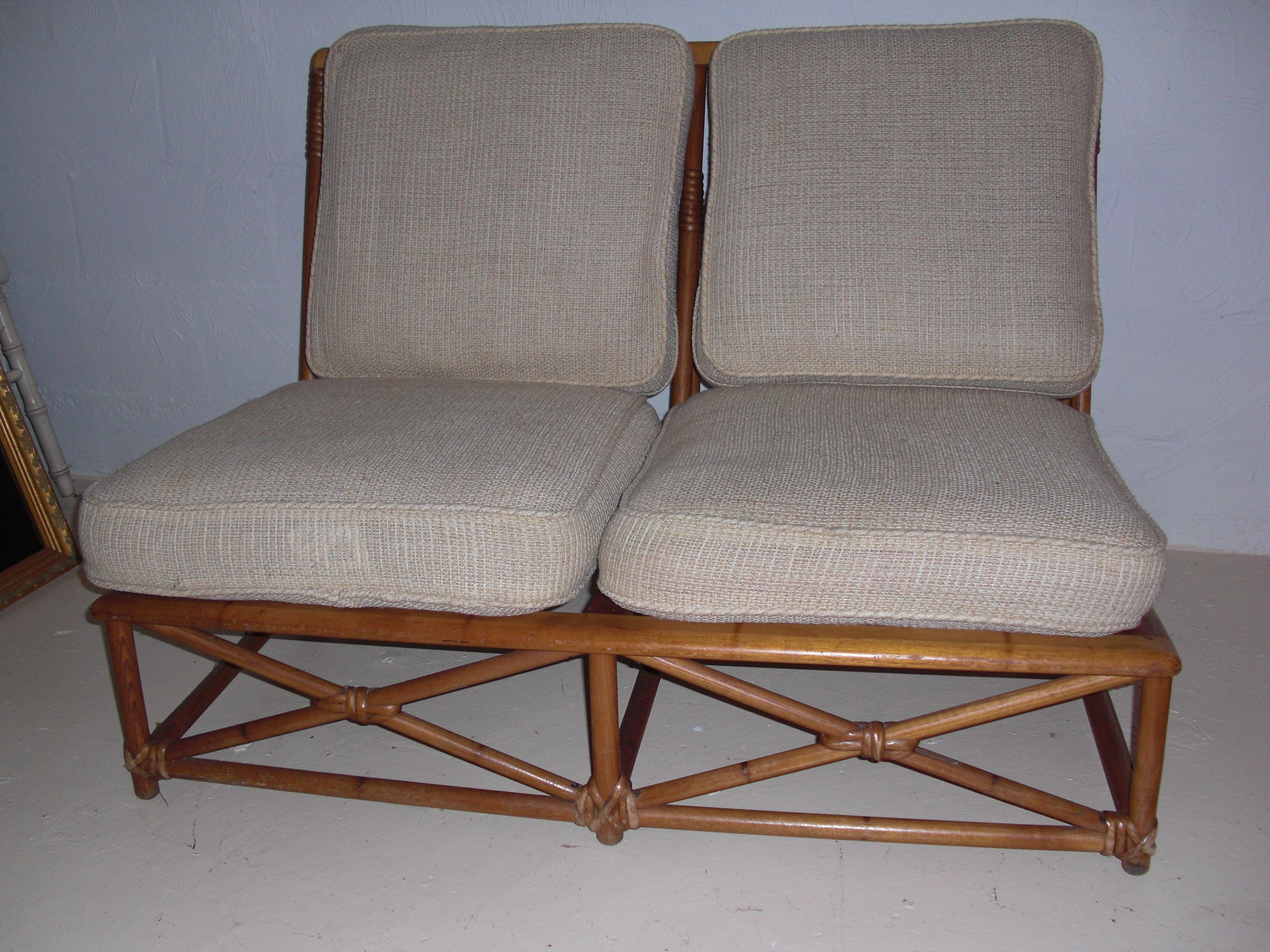 chairish bamboo and product vintage rattan white ficks loveseat sofa reed