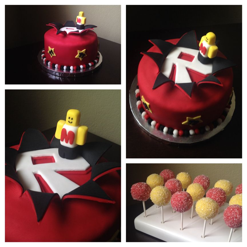 ROBLOX explosion cake and cake pops. Made May 2014