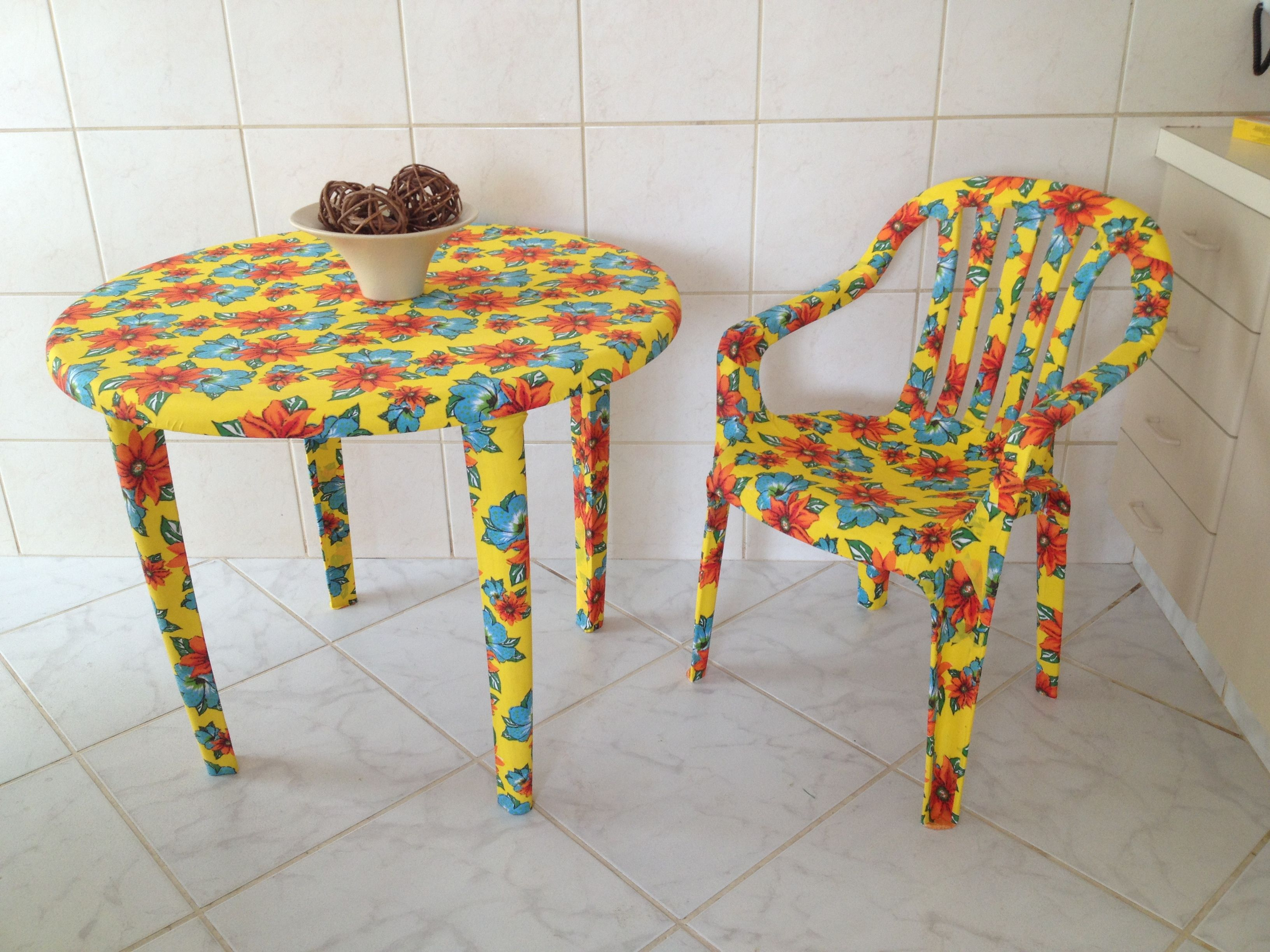 Plastic table and chair covered with fabric. | Home Ideas ...