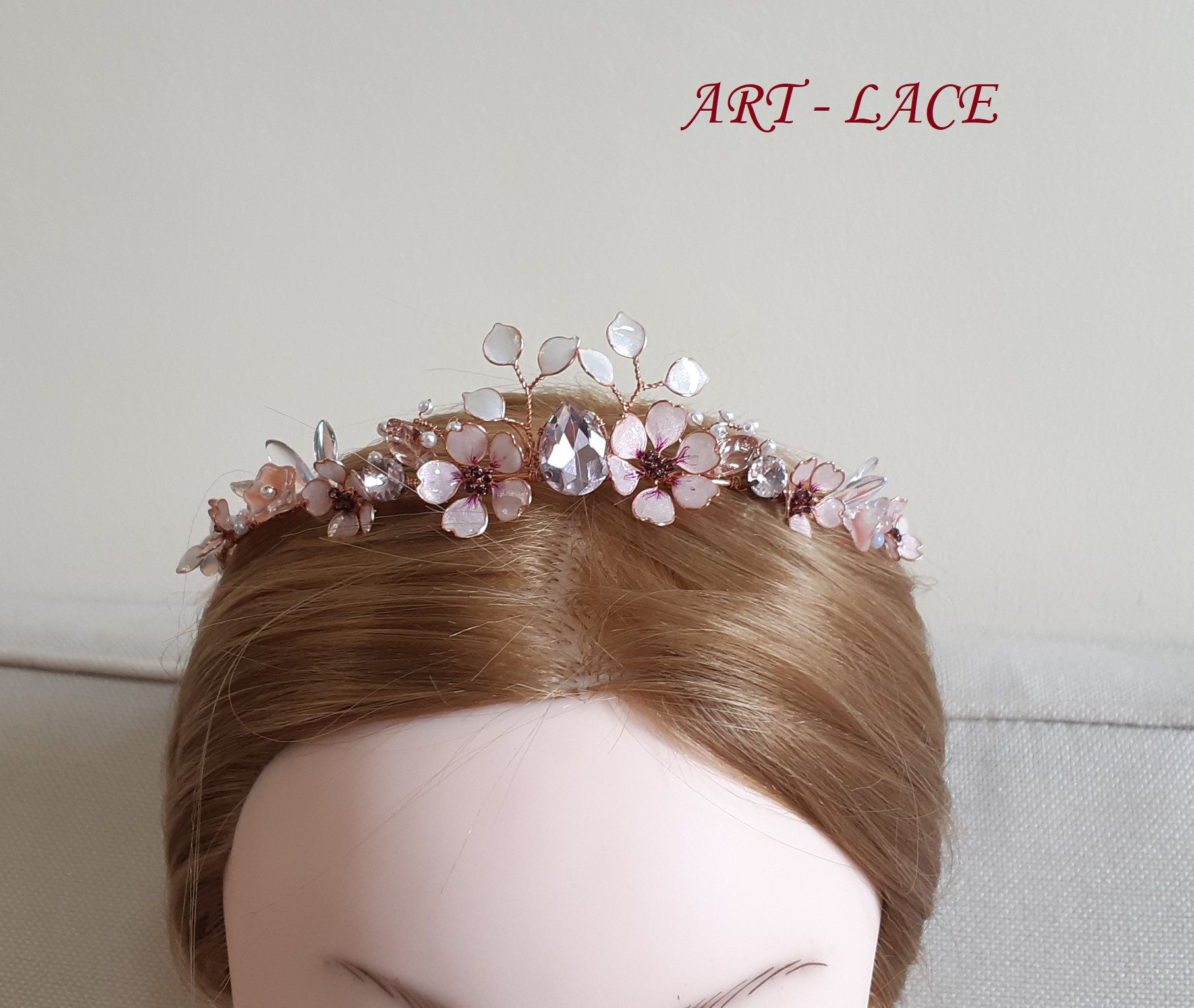 rose gold head crown cherry blossom bridal head piece pink