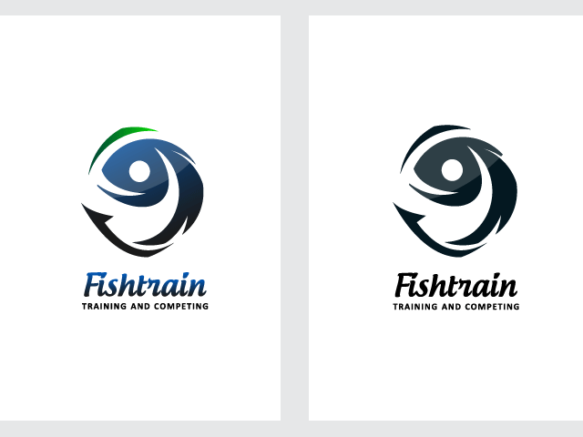 Logo FOR SALE!!! - Fishtrain-  The logo is a fish in a combination with a human shape.  The white negative space of the human shape create the fish. The eye of the fish is also the head of the human shape. Possible uses: all types of fishing business, fishing training, fishing competitons. www.thracianweb.com contact@thracianweb.com