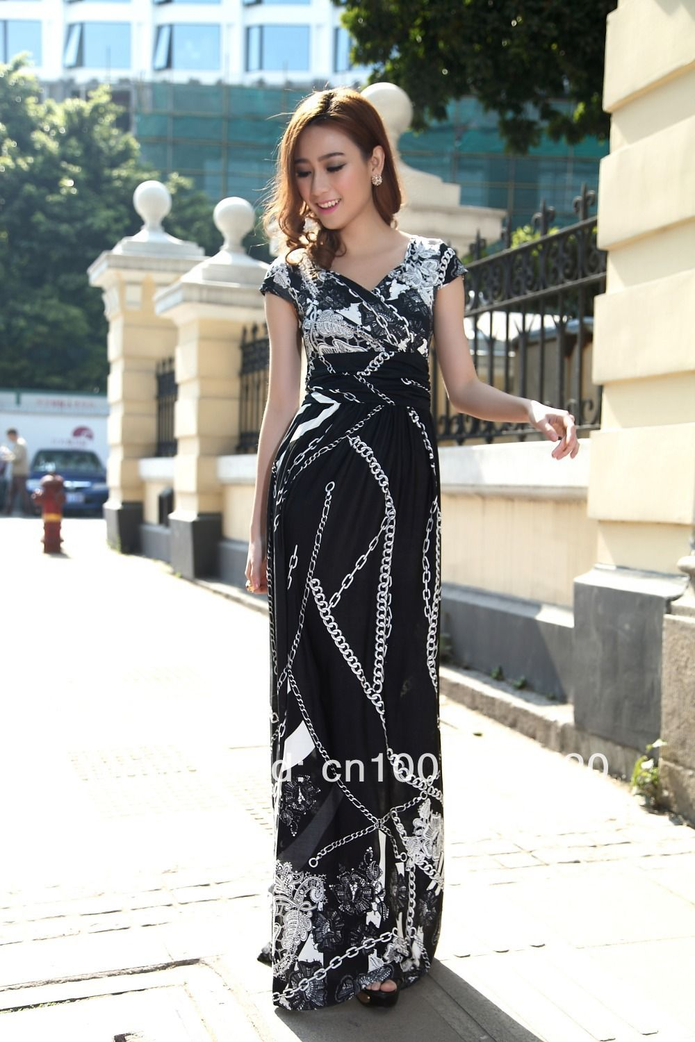 Click to buy ucuc black chain design cap sleeve party maxi dress boho