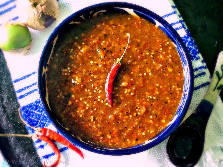Chile De Molcajete Salsa De Tomatillo Y Chile De Arbol Salsas Mexicanas Salsa Para Tacos Recetas Mexicanas