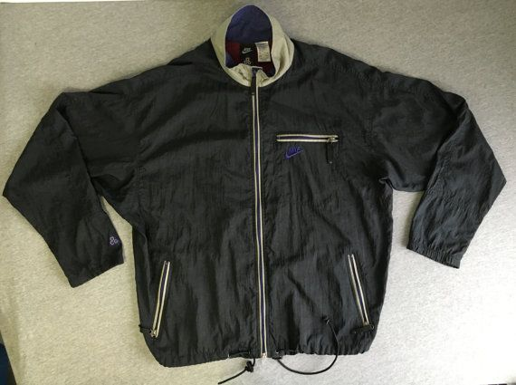 bbcf41147 NIKE ACG WINDBREAKER Jacket 90's Vintage/ Full Zip Windrunner Warm Up Nylon  Run Track/ Black Men Lar